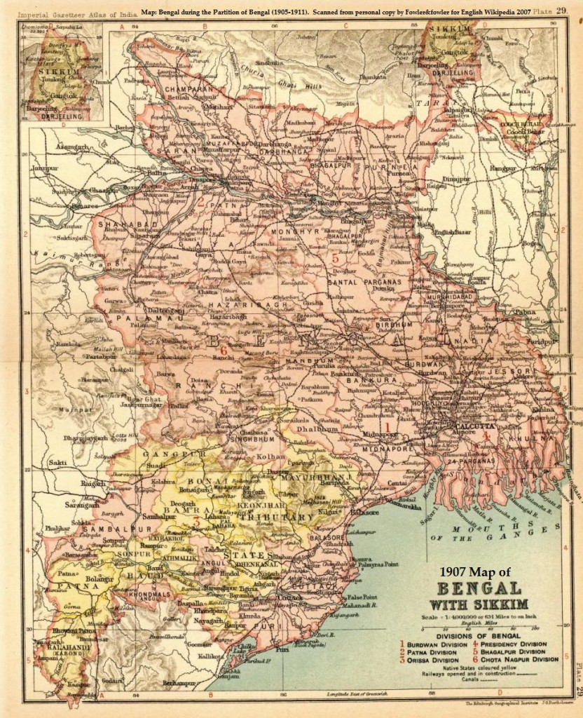 Map of the Province of Bengal (roughly incorporating present-day West Bengal, Bihar, and Odisha during the Partition of Bengal (1905-1911)