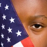 civil rights - girl and flag